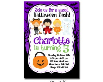 Halloween Invitation, Halloween Birthday Party, Costume Birthday Party, Not So Scary Halloween Party, Digital Personalized Invite, You Print