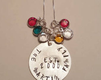 Custom Hand Stamped Family Established Necklace,  Mother's Birthstone Family Necklace, Bride's Family Necklace, Family Necklace