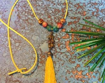 Yellow Elephant Necklace