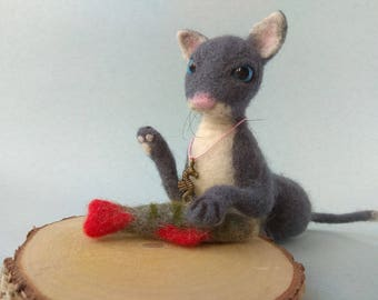 Attractive Cat Gray Animal Art Cat made of wool Figurine for decoration of large room Fish Decoration Gift to cat lover Needle felt animal