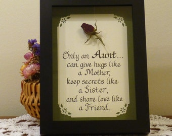 Framed Aunt Quote Handwritten in Calligraphy with Real Dried Red Rose