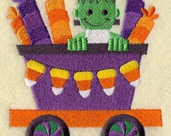 Trick-or-Treat Train - Frankenstein's Monster, Embroidered Halloween Dish Towel, Halloween Tea Towel, Cute Halloween Decoration