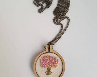 Hand embroidered flower bouquet necklace