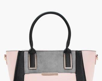 Contrast Tone Block Tote Bag - Colour Block Tote