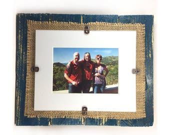 8x10 Custom Color Pallet Frame, Upcycled w/ Burlap Backing