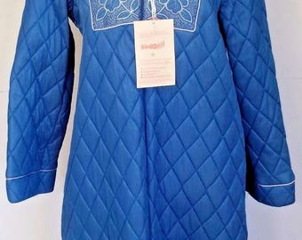 New with Tag Vintage Quilted House Coat Robe Blue Lara Dee Warm Medium