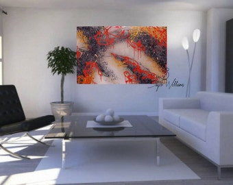 "Raw Tune 30x48"" Gallery wrapped, ready to hang canvas, original Abstract Painting with Epoxy Resin finish."