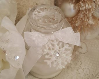 Snow Mint White Peppermint Soy Wax Jar Candle Glitter Snow Candle Frosty Peppermint Candle Sweet Mint