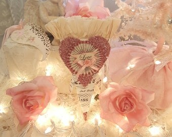 Vintage Shabby Chic Valentine Love Cone Romantic Treat Cone Valentine Party Favor Cone Pink Glitter Pink Roses Vintage Treat Container
