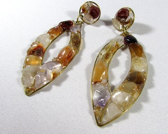 """Beautiful yellow and crystal """"Limbo"""" pin earrings made of bronze and gemstones - citrine and crystal quartz"""