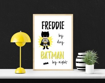 Personalised batman print, superhero print, boys bedroom decor, child's wall art, black and yellow print, nursery decor, wall decor,