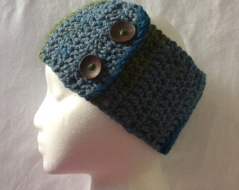 Crochet Headband, Crochet Earwarmer, Adjustable Crochet Headband Earwarmer,