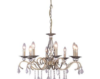 Gold Chandelier - Pendant Lights - Vintage look - Gold hanging Lamp with crystals