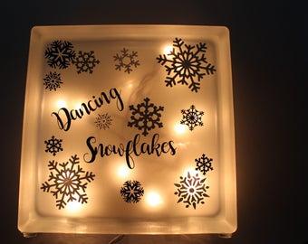 Lighted Snowflake Glass Block
