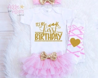 It's My First Birthday Outfit Girl Outfit, Pink and Gold Cake Smash Outfit Girl, 1 Birthday Princess Birthday Outfit, Ballerina Birthday B1P