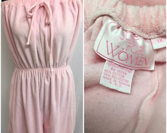Vintage Pastel Pink Terrycloth Tube Top Shorts XL 1980s Romper Beach Swim Cover with Bow and Pocket