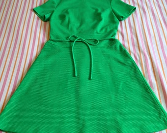 Vintage Green With White Polka Dots Short Sleeve Dolly Mod A-line 60s Twiggy Mini Dress