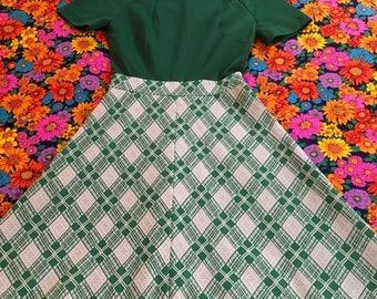 Vintage Green and White Plaid Short Sleeve Mod Mini Dress