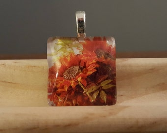 Fall Sunflowers in Bloom -- Charm Necklace
