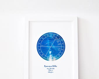 The Custom Star Print // Astrology Map // Optional Astrology Explanation Included // Framed Custom Star Map Any Occasion // Horoscope Chart