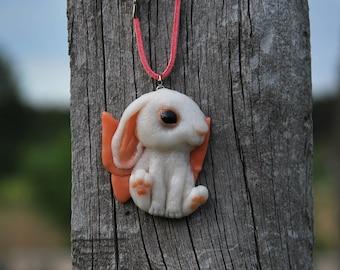 Pet Gift bunny pendant white bunny lover jewelry bunny charm rabbit lover pendant kawaii cute gift white jewelry her jewelry