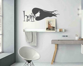 Hair - Wall stickers, wall decals, wall decor, wall art, hair stickers, hair decals, door stickers, hairstylist decals, hairstylist stickers