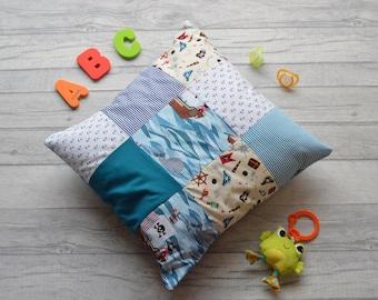 "Children's Pirate Patchwork Decorative Pillow 17"" x 17"" Envelope Fastening"
