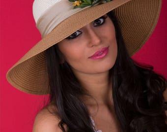 White and Beige Sun Hat   Wide Brim Hat   Large Brim Hat   Straw Hat   Elegant Beach Hat   Flower Sun Hat   Summer Hat