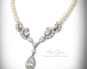 Wedding Necklace Swarovski Pearl Zirconia Necklace Wedding Jewelry Bridal necklace Statement Necklace Bridal Jewelry Wedding Accessory Adi