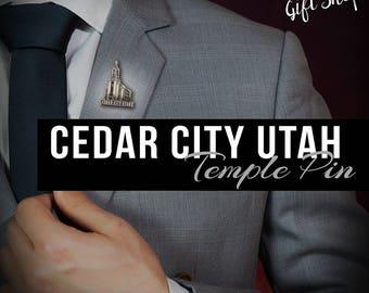 Cedar City Utah pin lapel pin in Silver or gold antique finish