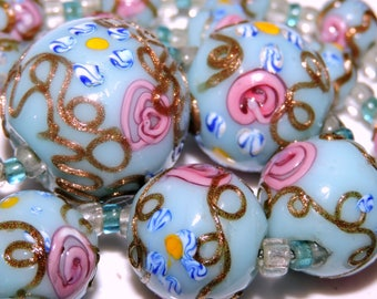 WEDDING CAKE LAMPWORK Necklace 1920'S Venetian Glass Bead Robin Egg Blue Pink Roses Gold Aventurine