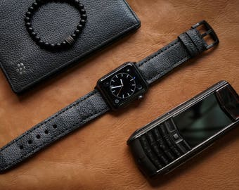 Artisan Watch Strap Handmade Black LV Strap L6 Fits Apple watch Series 1 Series 2, Nike+ version 38mm or 42mm