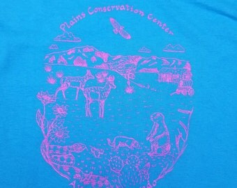 Vintage 80s Denver Aurora Colorado Neon Hot Pink Nature Concervation Center Dear Eagle Wildlife Shirt size Medium M