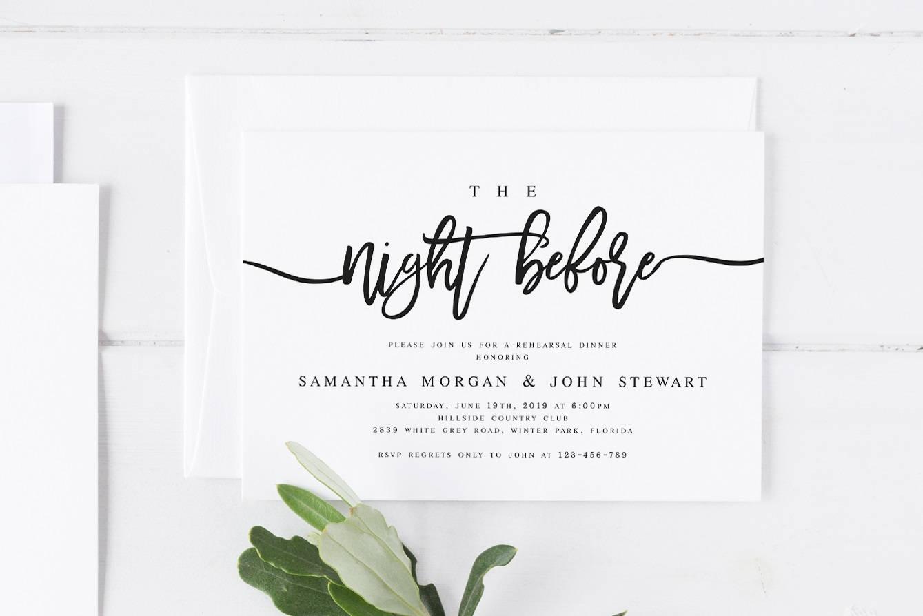 Pre Wedding Dinner Invitation: The Night Before Rehearsal Dinner Invitation Template Modern