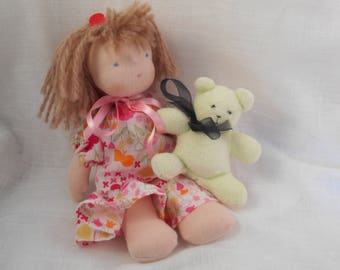 Emilie little Waldorf doll and her teddy