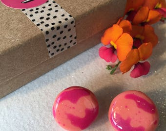 Orange and Pink BRIGHT Cheerful Resin Studs