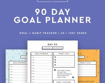 Goal Planner, 90 Day Planner, Goal Journal, Goal Planner 2018, Goal Tracker, Habit Tracker, Goal Digger, A5 Daily Planner