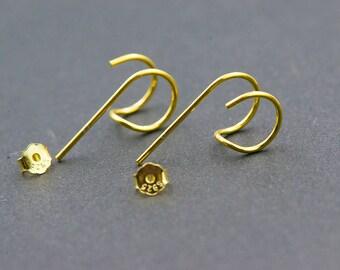"""Minimalist """"LEO"""" 925 Sterling Silver Hoop Hook Stud Earrings"""