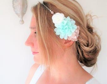 Headband pink flower powder, sea green, white, Bohemian spirit and romantic-silver chain and Czech glass beads.