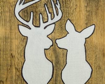 Buck & Doe Silhouette Sign