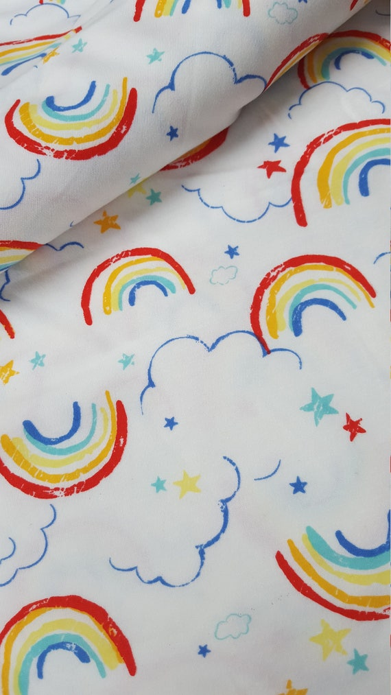 Rainbow clouds print cotton stretch jersey knit fabric kids for Children s jersey fabric uk