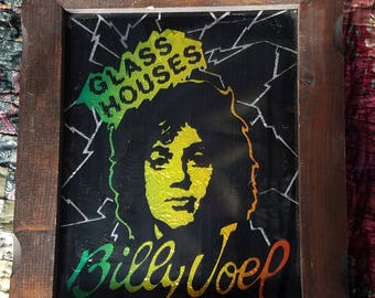 VINTAGE Billy Joel Glass Houses Carnival Mirror 1980's