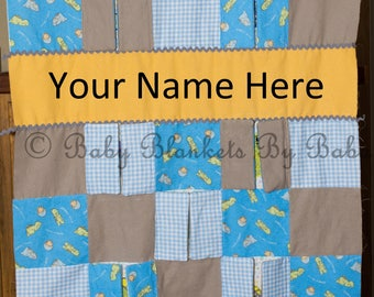 Personalized Dinosaur Baby Quilt with Crinkle Peek-A-Boo Panels