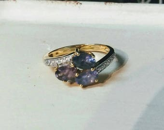 Pink Purple Blue Multi Color Spinel 3 Stone 10k Gold Ring