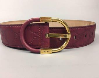 Gucci 1990s Vintage belt Designer belt Vintage Gucci GG logo Waist belt Purple belt Leather belt Monogram belt Womens belt Gold buckle belt