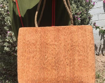 Vintage Peach Silk Wooden-Look Woven Handbag with Rope/Straw Straps