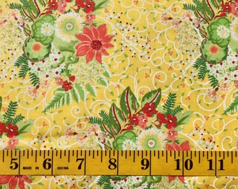 Moda Flora Lauren & Jessi Jung Yellow Green Red Flowers 25050 14 Cotton Fabric By the Yard