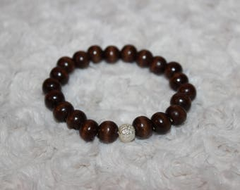 Wooden Beaded Bracelet with Pearly Accent Bead