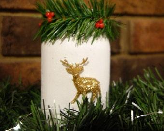 Mason jar with garland and reindeer
