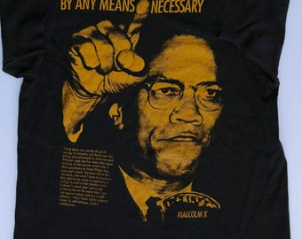 "90s Malcolm X "" By Any Means Necessary"" T-Shirt 